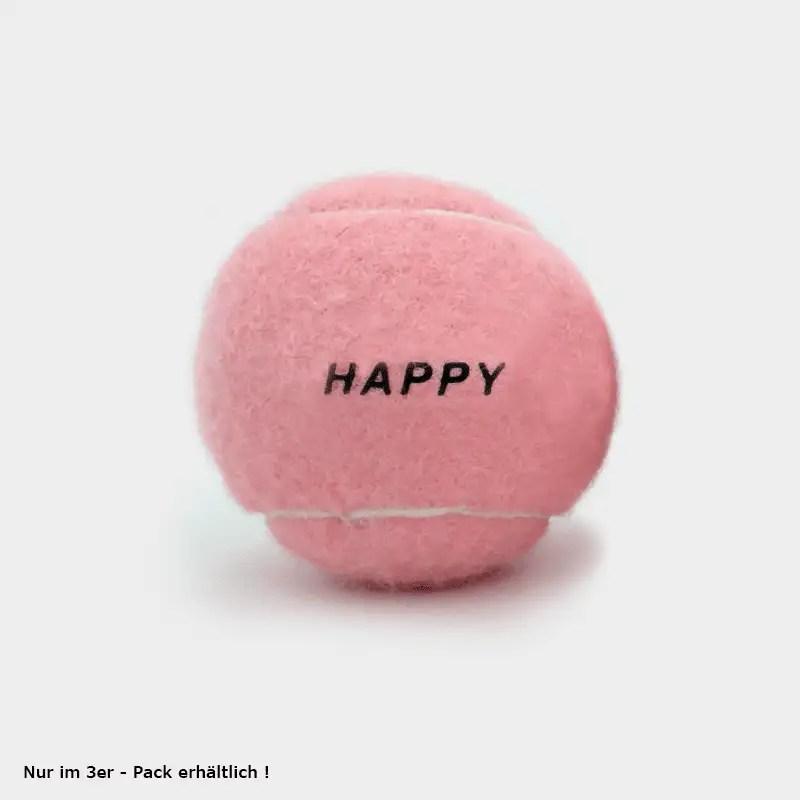 """SPORTSPET Tennisbälle pink einzeln mit """"HAPPY""""-Aufschrift"""