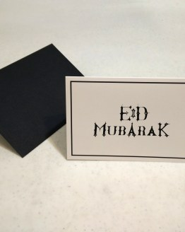 Eid Mubarak greeting card with black envelope