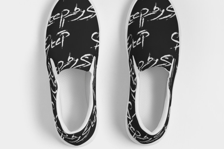 Step by step canvas slip on shoe top view