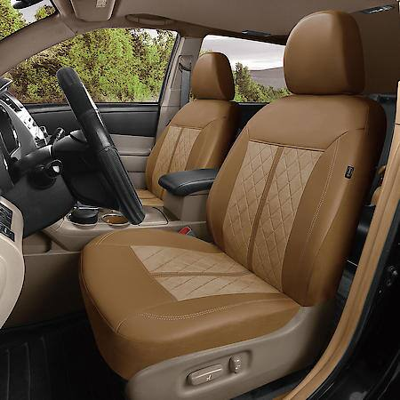 car suv seat cover tan faux leather suede classic universal 2pk warm quilting