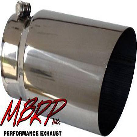 exhaust tip 5 in o d angled single walled 4 in inlet 12 in length t304