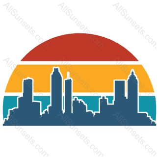 Atlanta Georgia Cityscape Retro Sunset