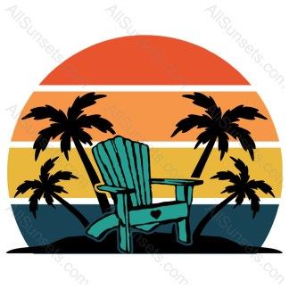 Beach Chair and Palm Trees Sunset
