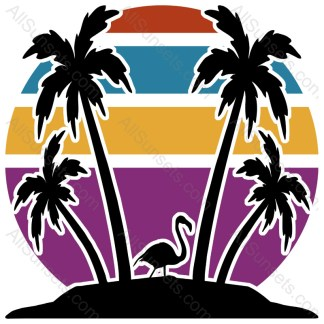 Beach Palm Trees Flamingo Retro Sunset