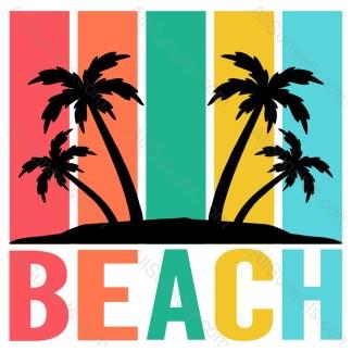 Beach Palm Trees Retro Stripes Sunset