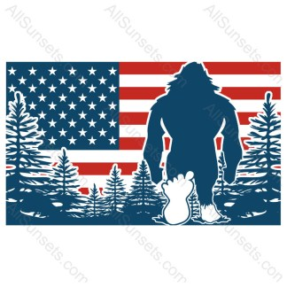 Bigfoot American Flag Vector
