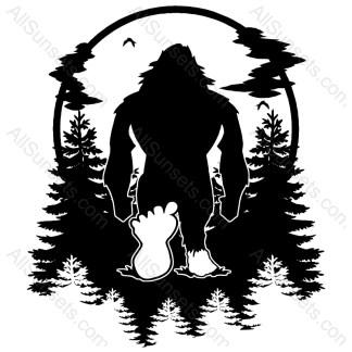 Bigfoot Forest Scene Vector