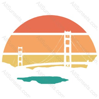 Bridge Scape Cutout Retro Sunset