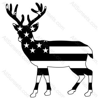 Buck Deer Shape American Flag