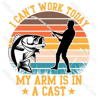 Can't Work Arm Fishing T-shirt Design