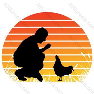 Chicken Dad Wheat Grass Retro Sunset
