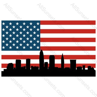 Cleveland Ohio Cityscape American Flag