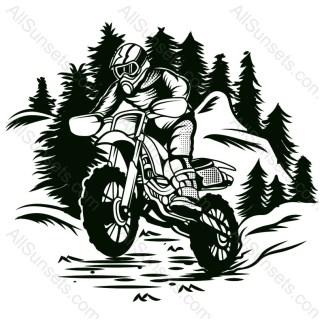 Dirt Bike Forest Vector