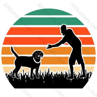 Dog Dad Retro Sunset Circle