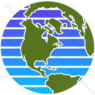 Earth Day Retro Sunset World Globe Map
