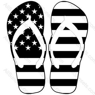 Flip Flops Single Color American Flag