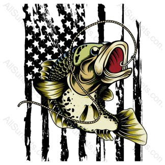 Full Color Bass Fish with American Flag
