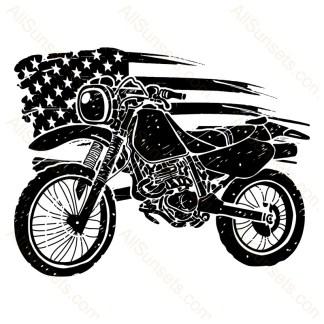Dirt Bike Motorcycle Grunge American Flag