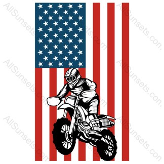 Dirt Bike Motorcycle American Flag