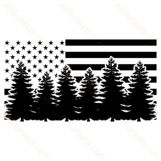 Evergreen Trees Forest American Flag
