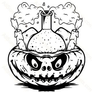 Halloween Pumpkin Candles Potion Vector