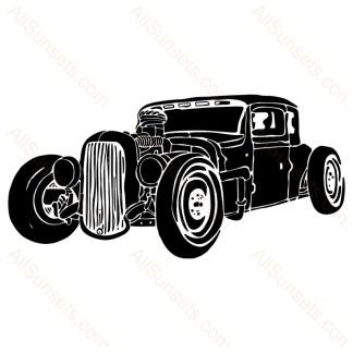 Hand Drawn Vintage Hotrod Car Vector