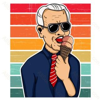Joe Biden Eating Ice Cream Retro Stripes Sunset