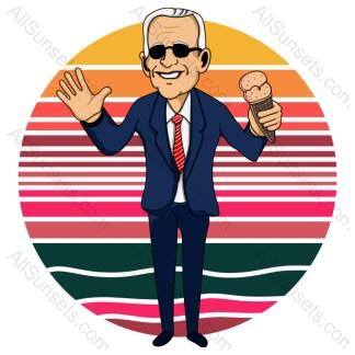 Joe Biden Holding Ice Cream Retro Sunset