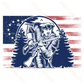Minuteman Patriot Soldier 13 Star Grunge Flag