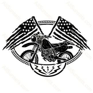 Motorcycle Crossed American Flags