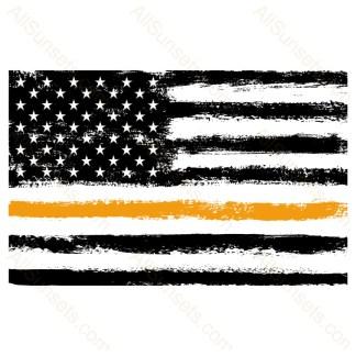 Orange Thin Line Grunge American Flag