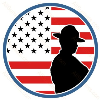 Round American Flag State Trooper