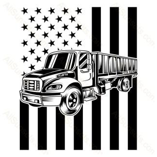 Semi Cargo Truck Vertical American Flag