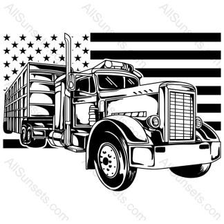 Semi Tractor Trailer American Flag