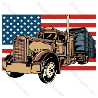 Semi Tractor Trailer American Flag Colored