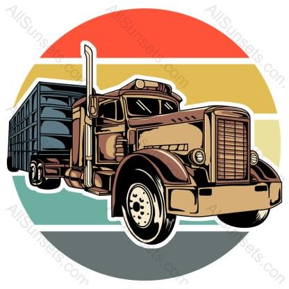 Semi Truck Tractor Trailer Retro Sunset