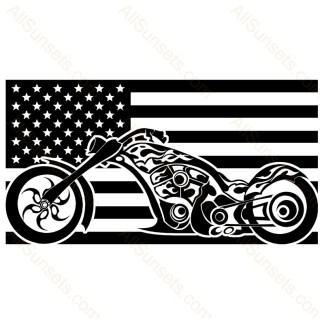 Street Motorcycle American Flag