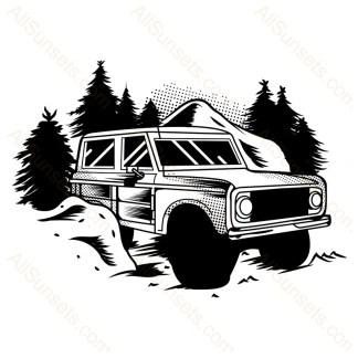 Trail Truck Forest Scene Vector