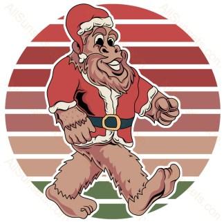 Bigfoot Santa Claus Christmas Retro Sunset
