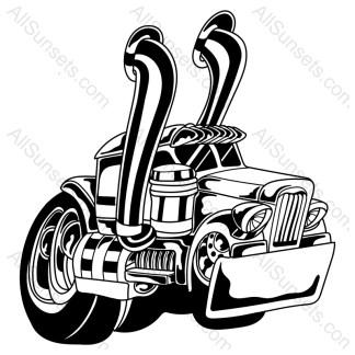 Cartoon Semi Truck Big Wheels Big Smoke Stacks