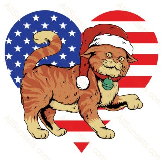 Cat Wearing Santa Hat Heart Shaped American Flag