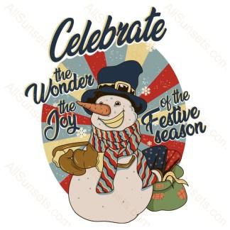 Celebrate Snowman Christmas Sunset