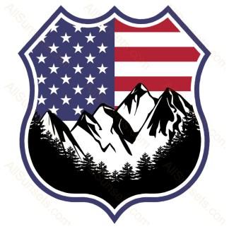 Mountain Forest Scene American Flag Badge