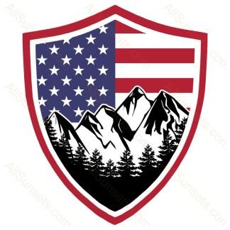 Mountain Forest Scene American Flag Shield
