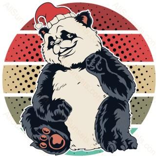 Panda Santa Hat Christmas Retro Halftone Sunset