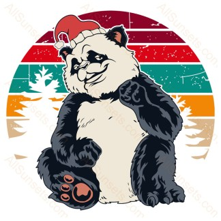 Panda Santa Hat Forest Christmas Retro Sunset
