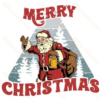 Santa Claus Merry Christmas Sunset Design