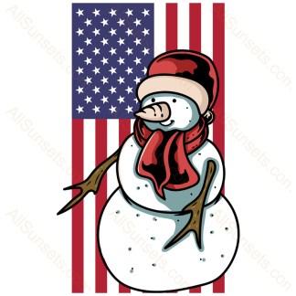 Snowman Vertical American Flag