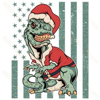 T-Rex Santa Claus Grungy American Flag