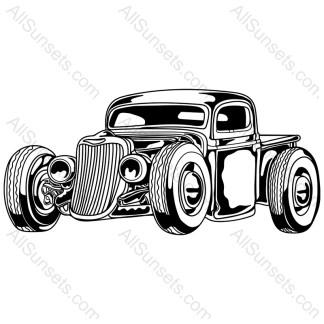 Vintage Hotrod Pickup Truck Vector